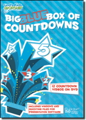 """Big Blue Box Of Countdowns"" Video DVD Plus Data: contains twelve, 5-minute long video countdowns; all playable on a standard video DVD player or with computer presentation programs. Includes 6 high energy video countdowns and 6 calm countdowns."