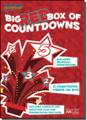 """Big Red Box Of Countdowns"" Video DVD Plus Data (includes seasonal themes): contains twelve, 5-minute long video countdowns; all playable on a standard video DVD player or with computer presentation programs. Includes 6 high energy video countdowns and 6 calm countdowns."