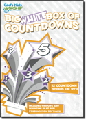 """Big White Box Of Countdowns"" Video DVD Plus Data: contains twelve, 5-minute long video countdowns; all playable on a standard video DVD player or with computer presentation programs. Includes 6 high energy video countdowns and 6 calm countdowns."
