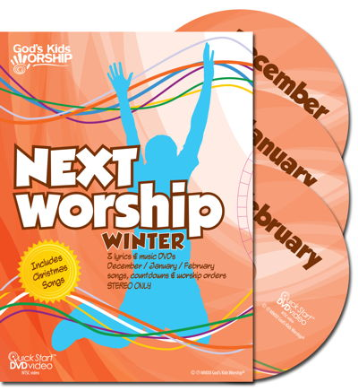 God's Kids Worship NEXT Worship Winter DVDs (Dec-Jan-Feb) includes Christmas